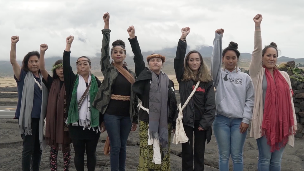 A line of 8 women stand together at the base of Mauna Kea, with their fists raised.