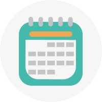 simplified vector image of a teal calendar with an orange headline in a gray circle